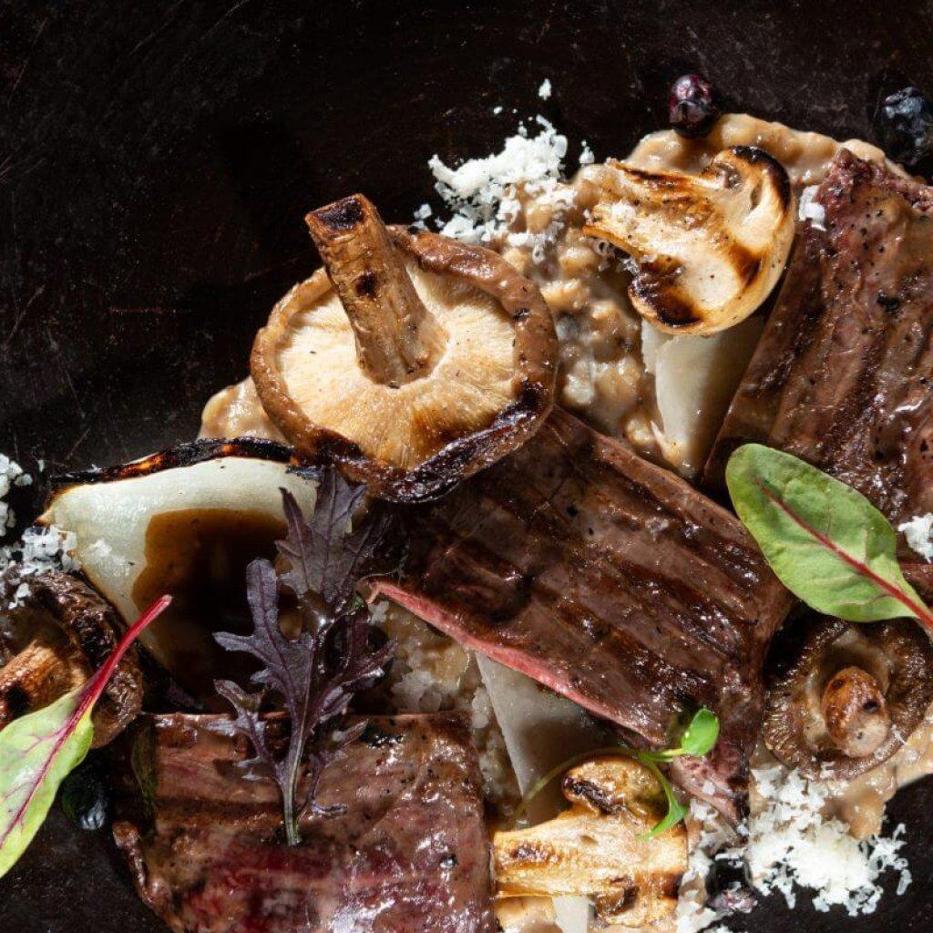 Carne y champiñones